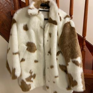 XS/S H and M (HM) Cow Print Fur Coat